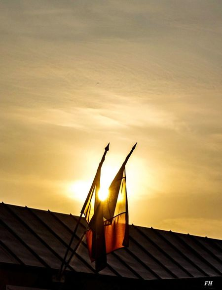 French Flag At Half-mast Roof Built Structure Sunset Building Exterior No People Outdoors Sky Low Angle View Day