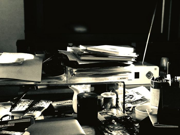 """My messy desk"""" Book Publication Still Life Stack Furniture Large Group Of Objects"""