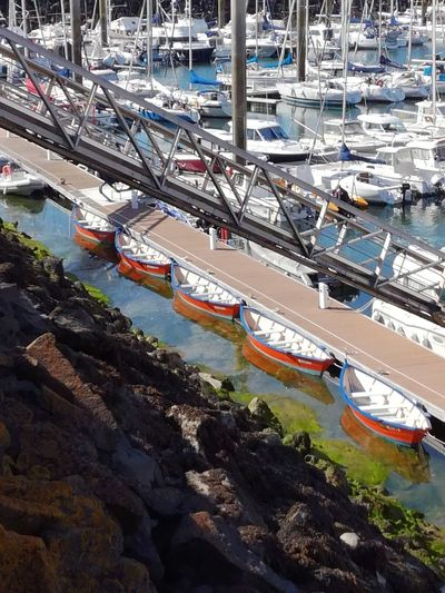 Boats Paddle Boats Orange Tranquil Scene Tranquility Calm Port Pontoon Water Elevated View LINE Colours Of Life