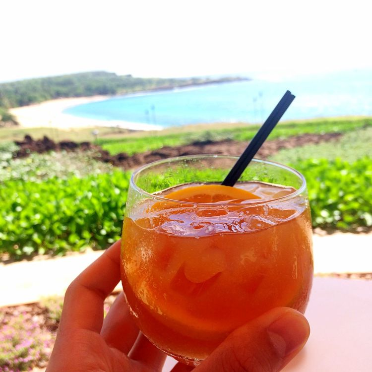 Poolside drinks at Manele Lanai Manele Bay Four Seasons Hotel