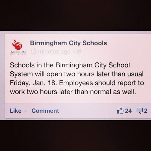 School Start 2 Hours Late Tomorrow!!