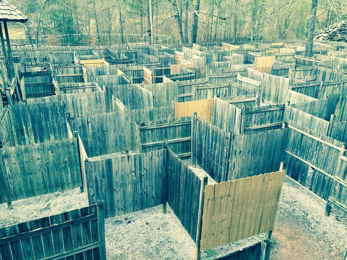 High Angle View Of Wooden Maze