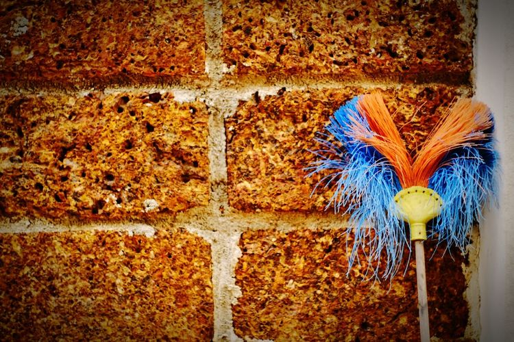 Broke Multi Colored Creativity No People Fragility Rugged Rocky Wall Broomstick Broom Brooms