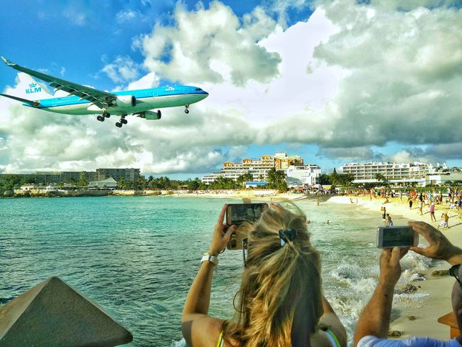 Travel Flying Airplane Sky Cloud - Sky Technology Lifestyles Outdoors Vacations Air Vehicle Day People Water KLM Koninklijke Luchtvaart Maatschappij Sxm Sint Maarten Saint Martin Pirates Carribean Sea Carribean Carribean Style Beauty In Nature