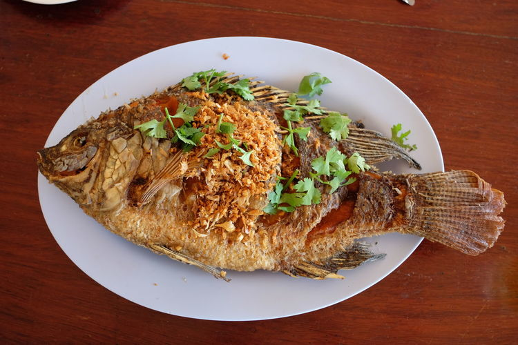 High angle view of fish in plate on wooden table