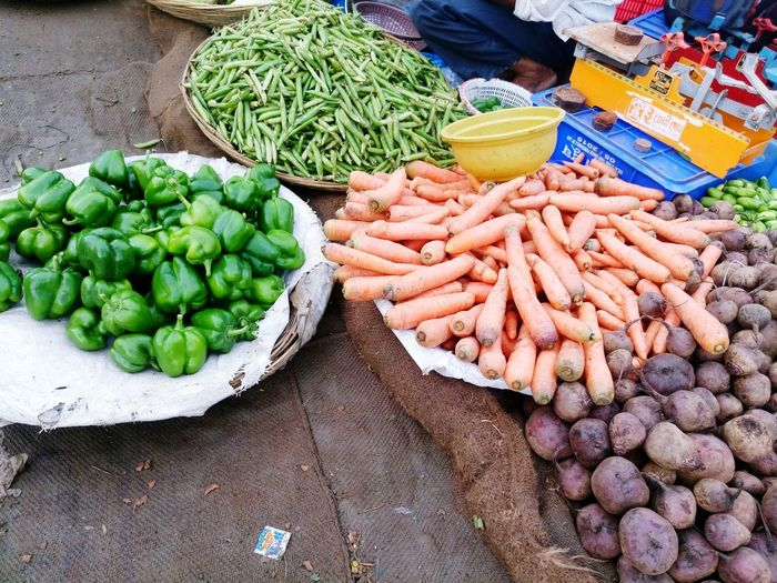 High angle view of vegetables for sale at market