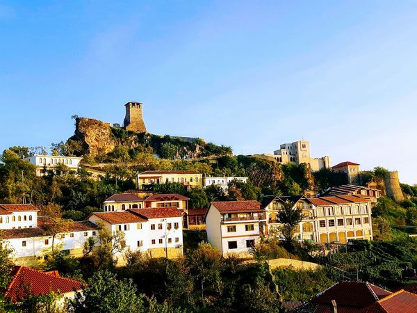 view of the castle of Krujë Tree Sky Architecture Building Exterior Built Structure