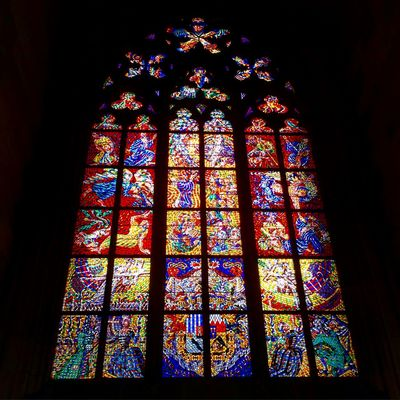 Prague Czech Republic Windows Stained Glass Colour St Vitus Cathedral Cathedral Prague Castle