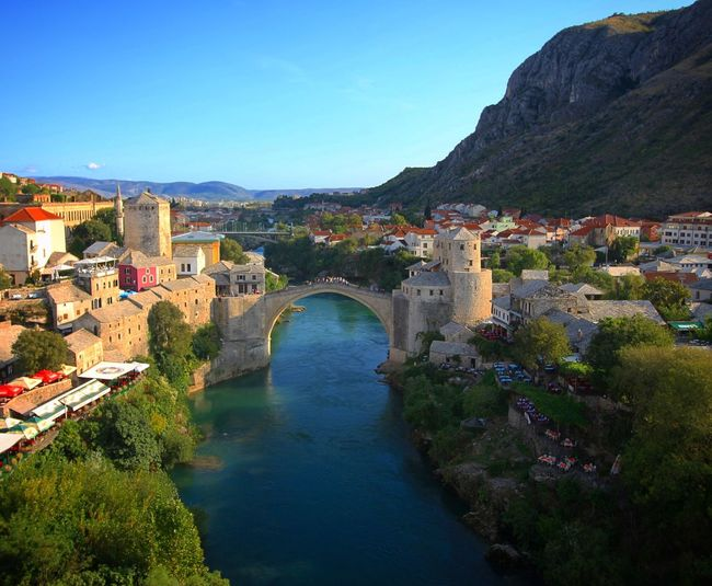 Mostar bridge. Architecture Mostar Mostar Bosnia Bosnia And Herzegovina Architecture Built Structure Arch Building Exterior Water Nature Travel Destinations Clear Sky Scenics Sky Blue Bridge - Man Made Structure Outdoors Day Architectural Feature History Historic Village Uniqueness Village View Ottoman Style