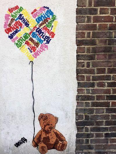 Creativity Colorful No People Multi Colored Teddybear Streetart Brick Wall Cute Street Art Graffiti Graffiti Art Shoreditch London