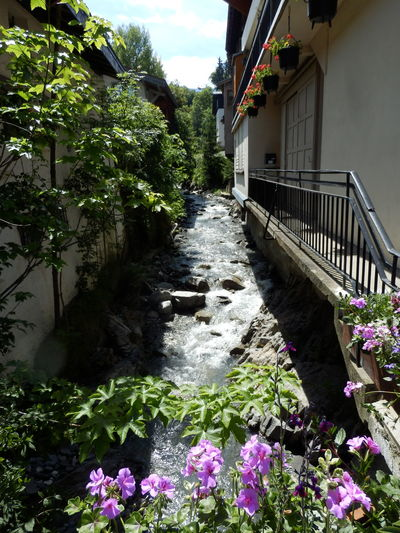 Flower Day Outdoors No People Built Structure Plant Architecture Building Exterior Nature Water Tree Sky France Mountain Range Megeve Chalet Mountain Stream, Mountain Creek