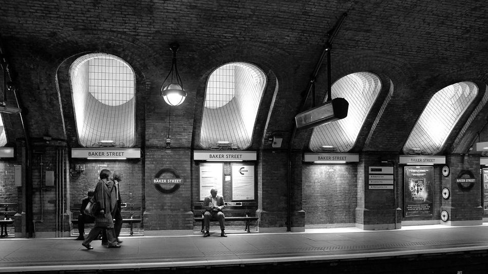Baker Street. Architecture Built Structure Travel Destinations Travel Full Length Railroad Station Men Indoors  People Day Adults Only Adult London Baker Street Subway City Urban Busy Underground England Europe Monochrome Streetphotography Blackandwhite Streetphoto_bw