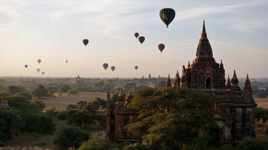 Hot air balloons against sky