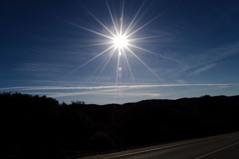 Sky Road Sun Nature No People Scenics - Nature Transportation Sunlight Environment Silhouette Outdoors Bright