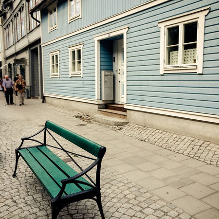 Absence Archipelago Bench Chair Cobblestone Day Empty Exterior Footpath Leading Narrow Paving Stone Sidewalk Stockholm Stockholm Archipelago Street Summer Summertime Sweden Urban Vaxholm Vaxholm, Sweden Walkway