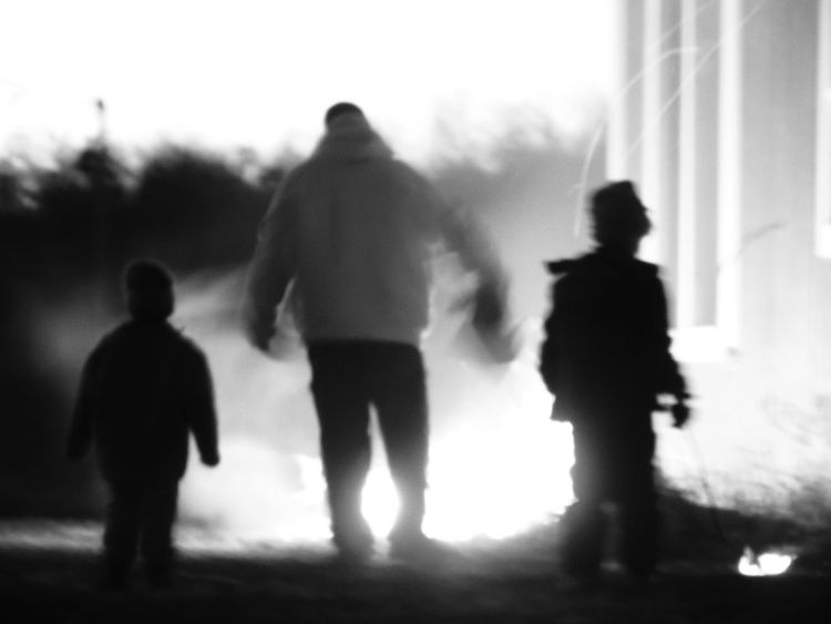 Father And Sons Black And White Blurred Motion Defocused Walking Real People People Motion Group Of People Men Person Day Outdoors Adult Horizontal Only Men Sky Wintertime Winterwalks Winter Minnesota Rural Life