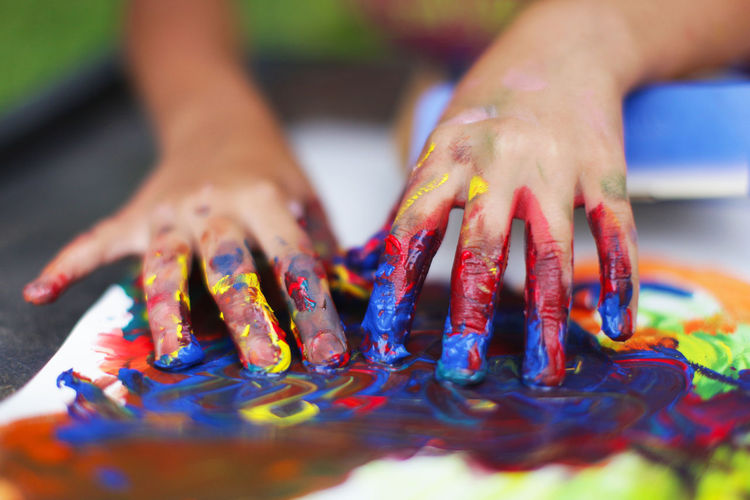 Detail shot of colorful hands