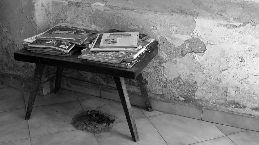 Desks From Above Old Fashioned Sri Lanka Abandoned Blackandwhite No People