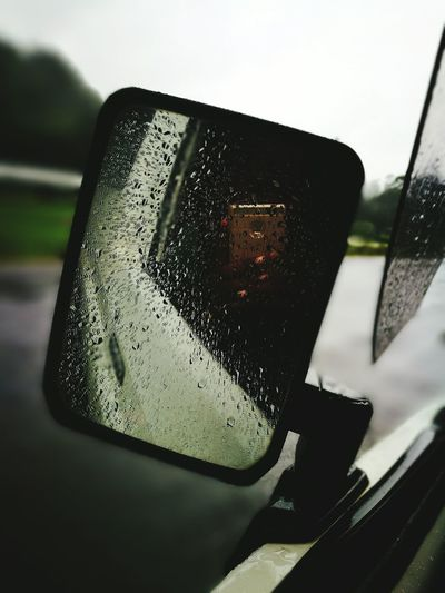 Rainy Weather Real People Car Glass Mirror Selfie ♥ Blurred Background Road Side Photography Rain Drops On Glass Beautiful View ..