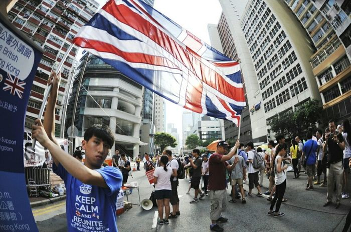 The Photojournalist - 2015 EyeEm Awards Hongkonger Protesters Unionjack Flag God Save The Queen at 71大遊行