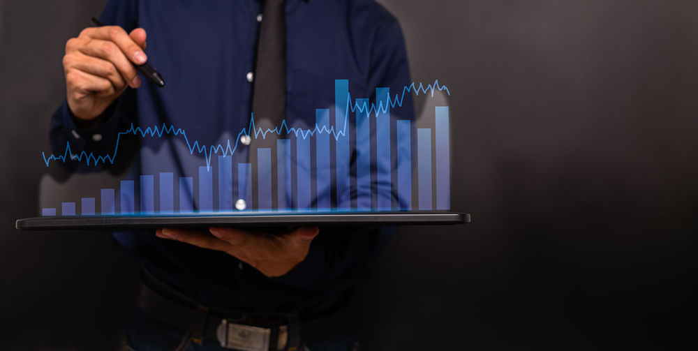 Graph investors stock business global economy illustration. stock market