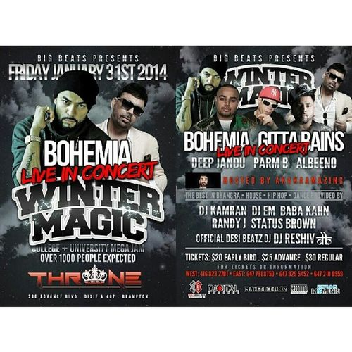 Bohemia is in the town..come see him on jan 31st in Brampton hosted by AkakaAmazing :) get the advance tickets for less starting from $20 and there are meet and greet V.I.P tickets for $50 contact me @416-988-3600 to pick up from area around downtown toronto. Bohemia Deepjandu Akakaamazing Geetabains albeeno parmb liveconcert rapper punjabi desi brownevent sikh brown indian jatti jatt punjabimusic pollywood canada brampton toronto gta desimusic desiswag