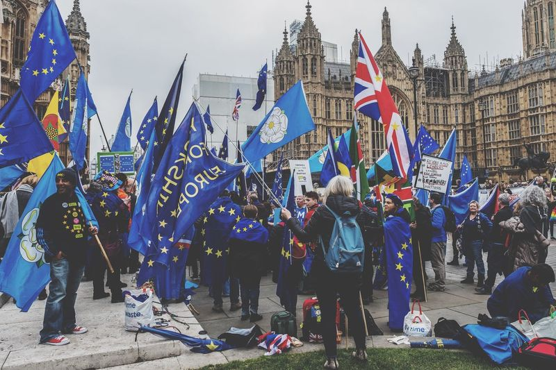 Anti Brexit Protests outside Houses of Parliament Flag Group Of People Crowd Real People Celebration Day Large Group Of People Outdoors Street Togetherness Event Patriotism City British Culture
