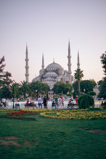 Sultan ahmed mosque against clear sky during sunset