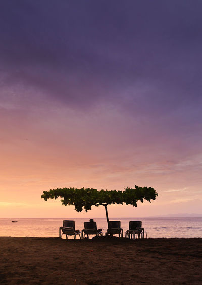 Beach Beauty In Nature Chair Cloud - Sky Horizon Horizon Over Water Land Nature Orange Color Outdoors Plant Scenics - Nature Sea Silhouette Sky Sunset Tranquil Scene Tranquility Tree Water