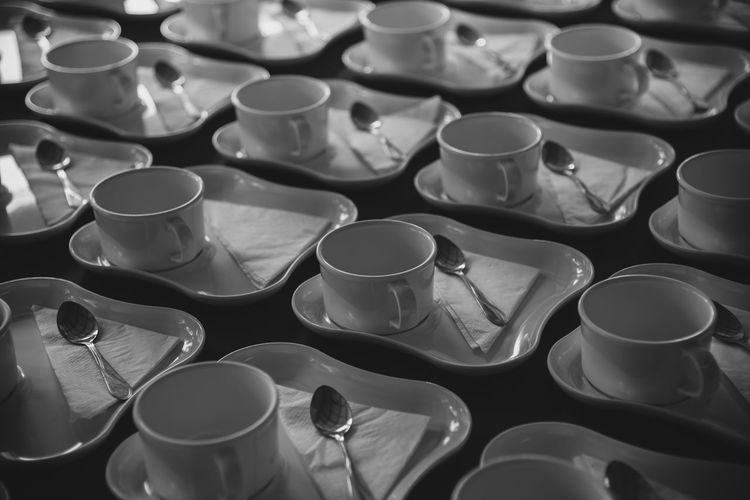 Full frame shot of coffee cups