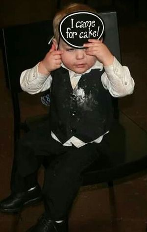 One Person Front View People Indoors  Cake Wedding Toddler  Funny Humor Silly Baby Boy Messy Face