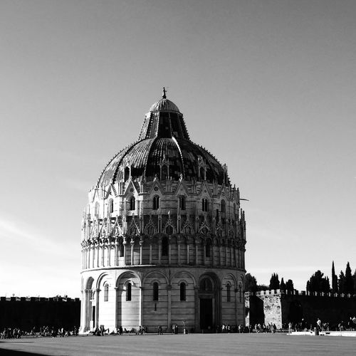 Low angle view of piazza dei miracoli against sky