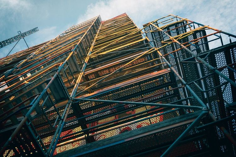 Lines IPhone SE Nklb Scaffold Vectors Construction Site Compressed Perspective Mural Low Angle View No People Built Structure Pattern City Multi Colored Tilt Tall - High Metal