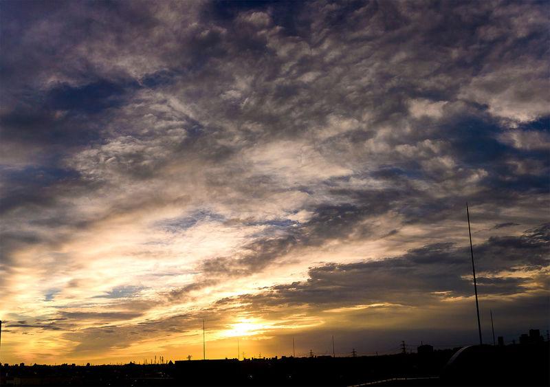 today's sunrise in Tokyo Beauty In Nature Cloud Cloud - Sky Cloudy Dramatic Sky Idyllic Landscape Majestic Moody Sky Nature Outdoors Scenics Silhouette Sky Summner Sun Sunrise Tranquil Scene Weather