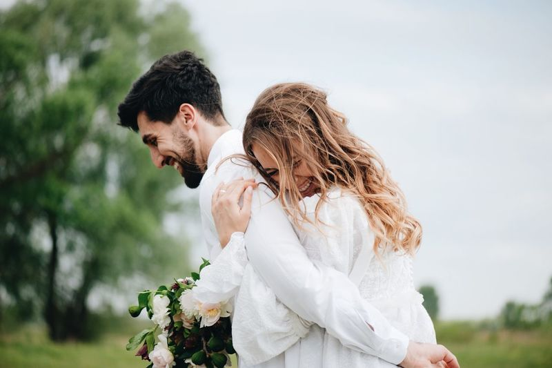love story of young couple Adult Bouquet Bride Bridegroom Couple - Relationship Emotion Event Flower Flower Arrangement Heterosexual Couple Husband Life Events Love Married Men Newlywed Positive Emotion Togetherness Two People Wedding Wedding Dress Wife Women Young Adult Young Couple