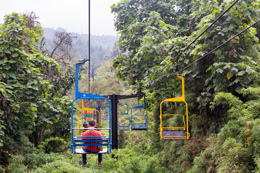 MANIZALES, COLOMBIA - JUNE 1: Unidentified people ride the brightly painted ski lifts through the jungle at the Recinto del Pensamiento nature reserve near Manizales, Colombia on June 1, 2016. Chair Cloud Colombia Electric Green Latin Manizales Recinto Ski Lift South America Andean Cloud Forest Coffee Triangle Colombian  Colorful Day Fog Forest Lift Mist Nature Outdoors Park Pensamiento