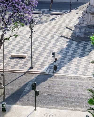 High angle view of footpath by street