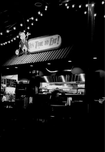 It's Time To Eat! Restaurant Lights Black&white