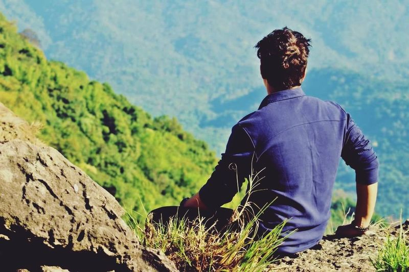 leap of faith ! 🤸 EyeEmNewHere Mountain View Eco Park Mountain Men Adventure Landscape Hiker Terraced Field Satoyama - Scenery Calm Hiking Backpack Go Higher