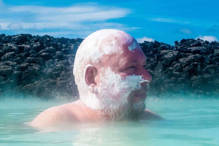 Iceland, 2015 This Is Masculinity Iceland Blue Lagoon Hot Springs Streetphotography Street Photography Only Men One Person Portrait Headshot One Man Only Swimming Pool