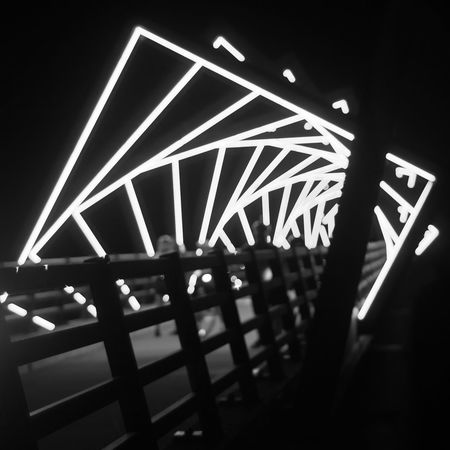 High Trestle Trail Bridge at night. Bridge Black And White Night Photography Night Lights