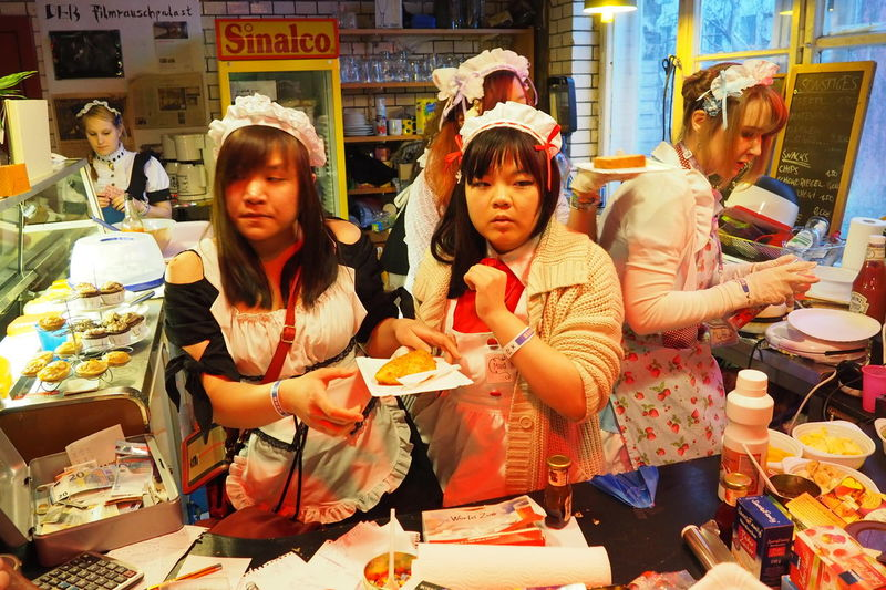 Berlin Business Cafe Casual Clothing Cosplay Cultures Cute Disguise Girls Japanese  Japanese Culture Japanese Food Japanese Style Lifestyles Maids Person Preparing Food Real People Young Adults Young Women