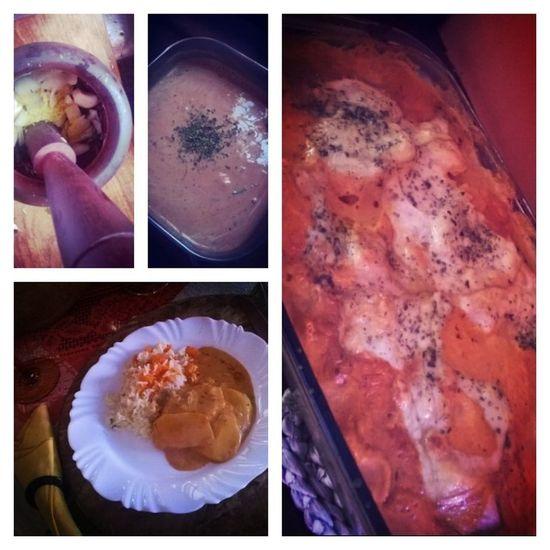 Meu lado gastronômico aflorado !! Eu amo !! Batata gratinada ao molho rose !! Nhannham Almoçodefamília Amocozinhar Ficoubomdemais 🍠🍜🍝🍛