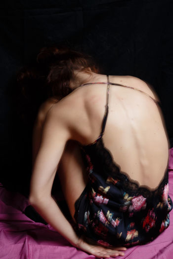 Back Pink Thinking Woman Black Dreamy Flowers Skin