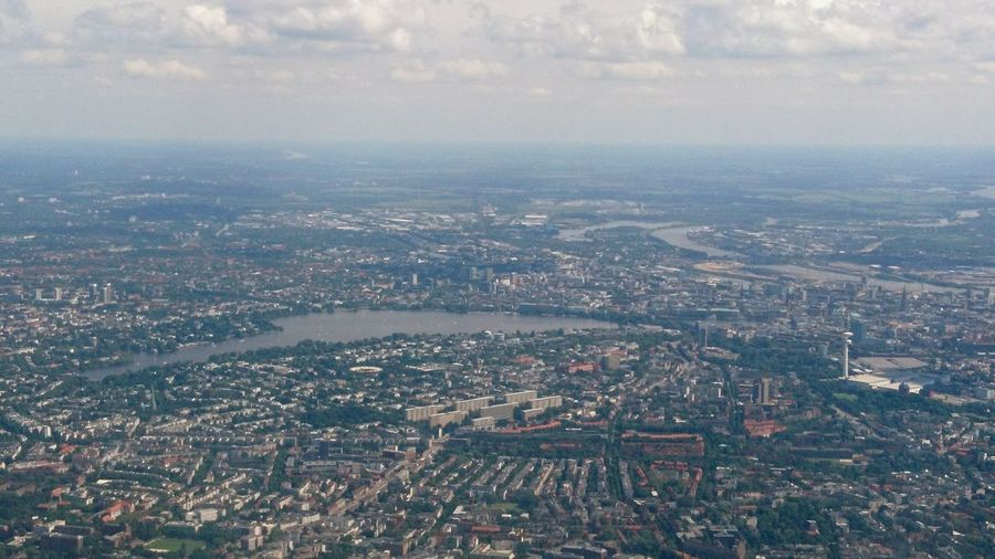 Hamburg aerial I. · Hamburg Germany Hh 040 Hamburgmeineperle Hansestadt Hamburg City Cityscape Urban Landscape From An Airplane Window Aerial Aerial View Aerial Shot Overview Clouds Above The Clouds