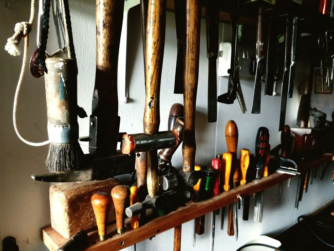 EyeEm Selects Indoors  Hanging Day No People Tools Organized Hammers Screwdriver Workshop View Workshop Wood - Material
