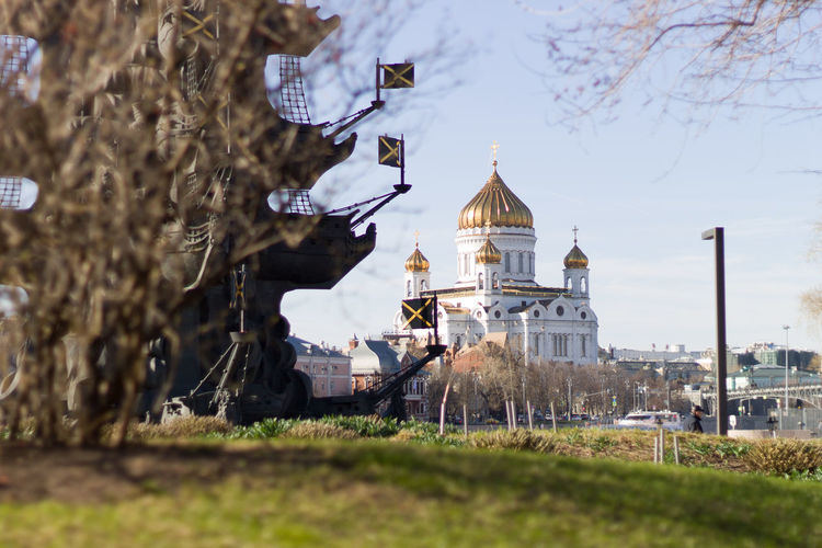 ХрамХристаСпасителя Cathedral City Dome Sky Architecture Grass Building Exterior Built Structure