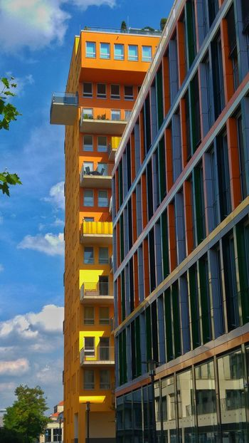 Architecture Built Structure Outdoors Sky No People Balcony Moment Balcony Strange Architecture Single Balcony Outstanding Colour Outstanding Building Of The Year Apartment View Paint The Town Yellow