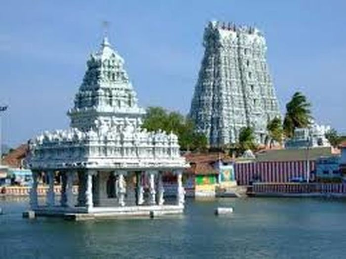 It is a Hindu temple front entrance called Gopuram [tower] & tank contains water. Architecture