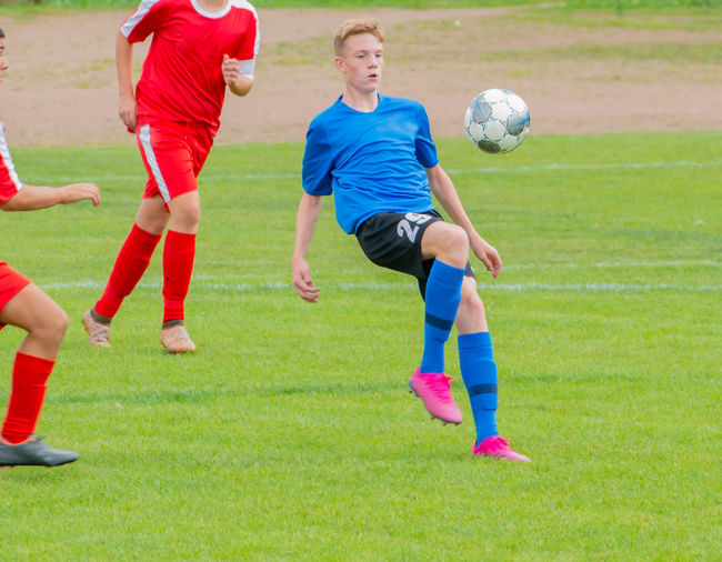 Young soccer player in action during a soccer game